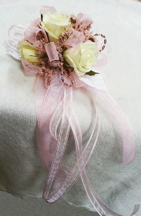 White Roses Light Pink Accents Corsage