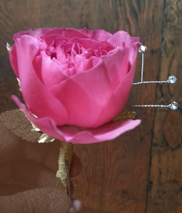 Pink Peony Boutonniere