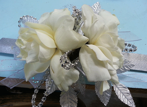 White Peonies Silver Accent Wrist Corsage