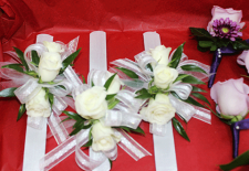 3 White Roses Corsages