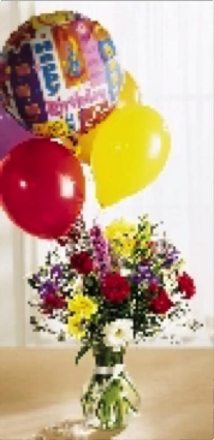 Birthday Arrangement with Mylar