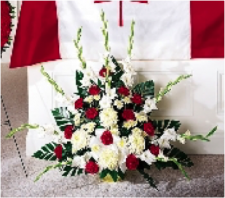 Traditional Red and White Funeral Basket