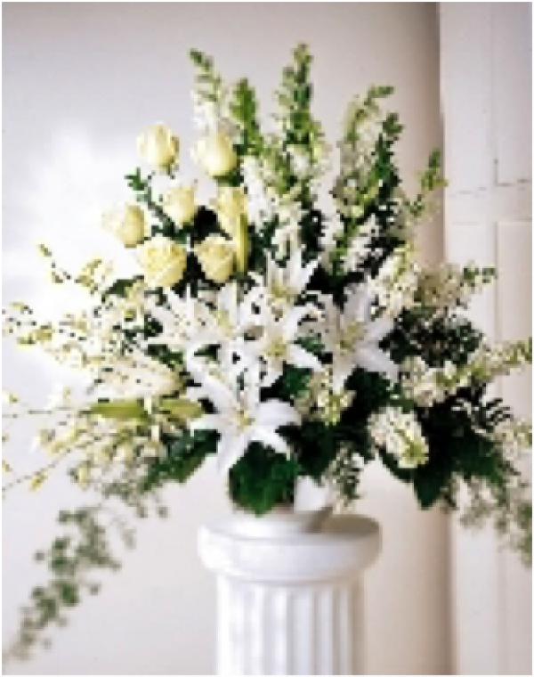 Traditional All-White Funeral Basket
