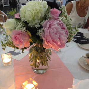 Pink & White Center Pieces