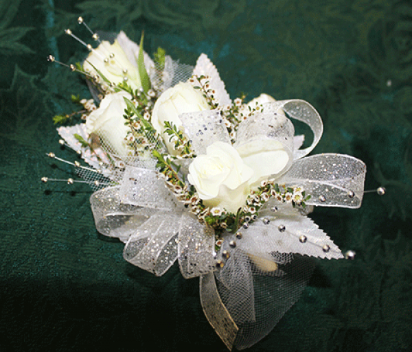 4 White Rose Corsage