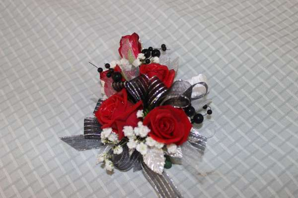 5 Red Rose and Black Corsage