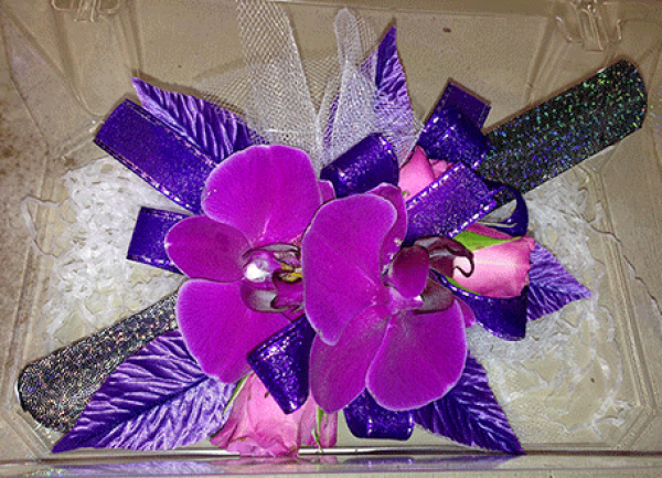 Fuchsia Orchids Purple Ribbon Wrist Corsage