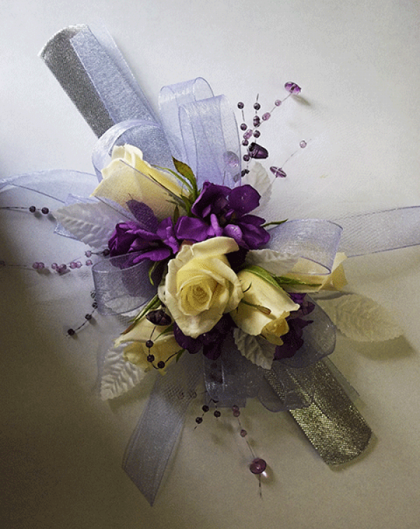4 Lt. Yellow Roses Purple Accents Wrist Corsage
