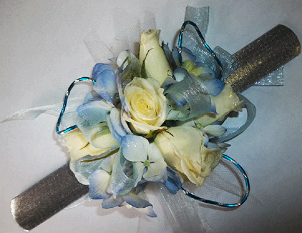 Lt. Yellow Roses Light Blue Accents Wrist Corsage