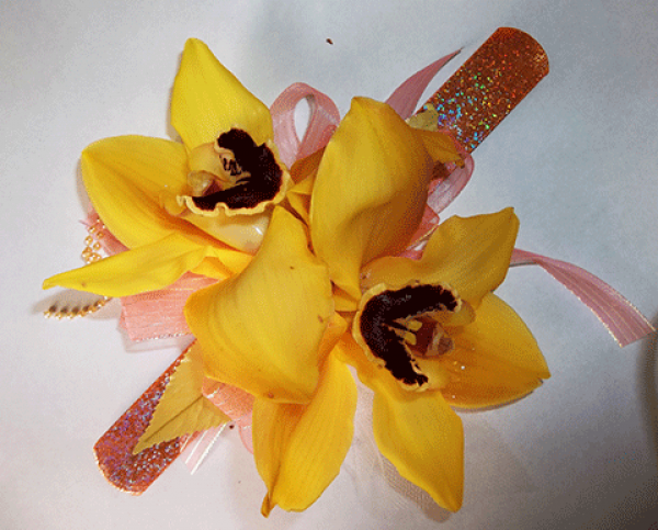 Bright Yellow Orchid Wrist Corsage