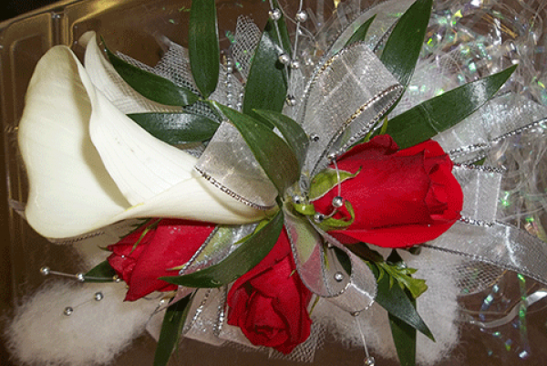 Calla Lily 3 Red Roses Corsage