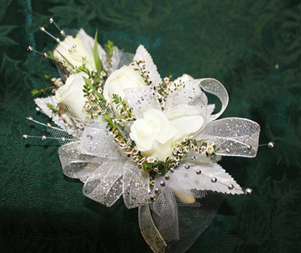 4 White Roses Sparkly Ribbon Corsage