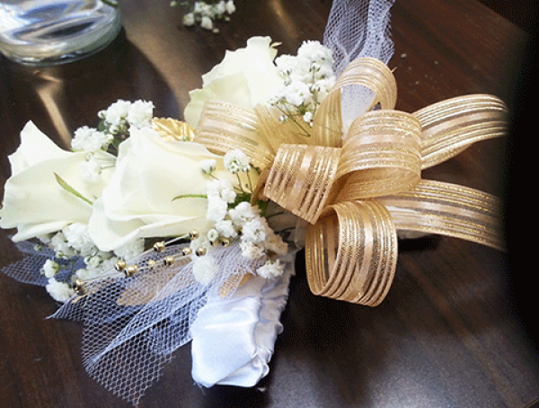 3 White Roses Baby's Breath Gold Ribbon Corsage