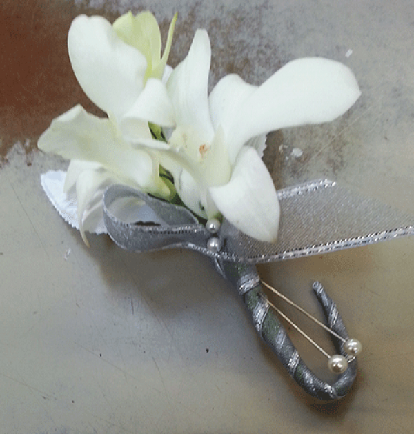 White Orchid Silver Stem Boutonniere