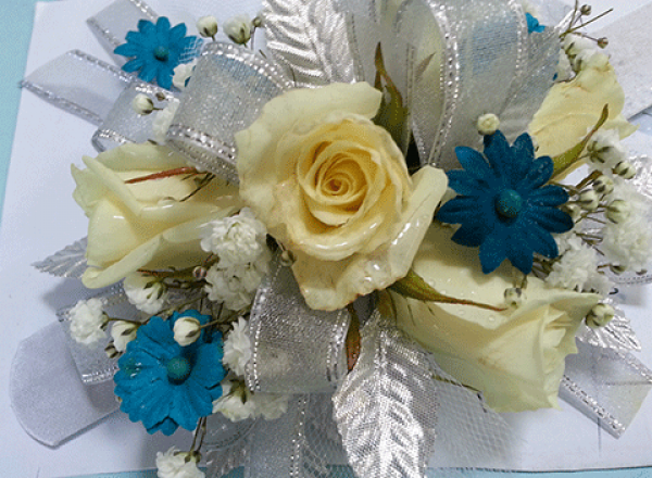 Cream Roses Blue Daisies Silver Ribbon Corsage