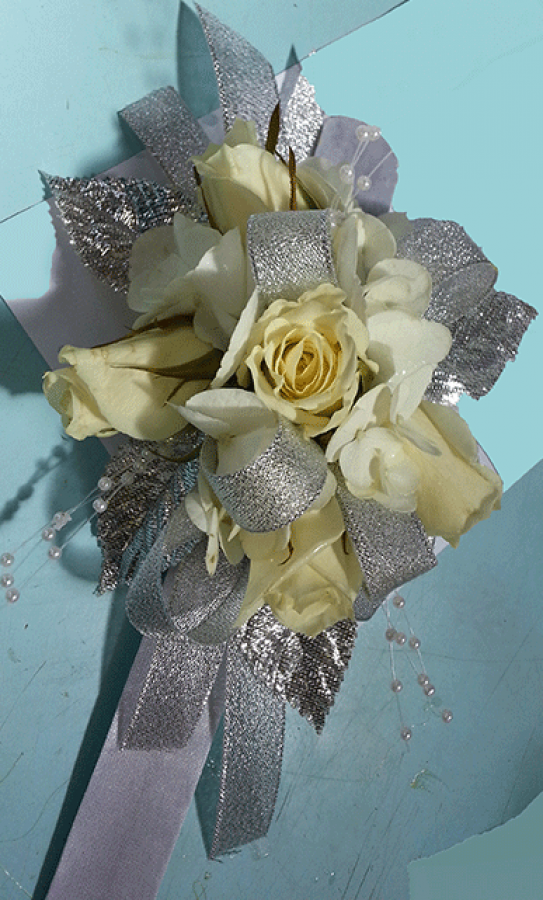 Off-White Roses Shiny Silver Ribbons Leaves Wrist Corsage
