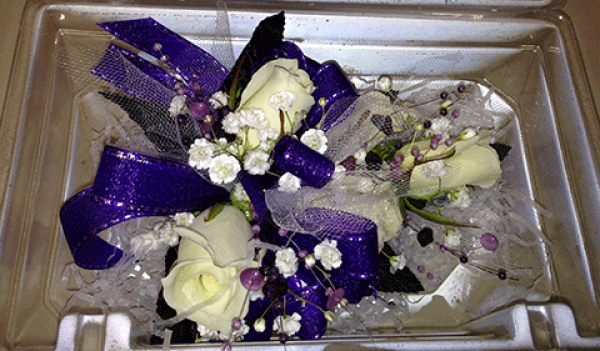 4 Cream Roses Baby's Breath Violet Ribbon Corsage