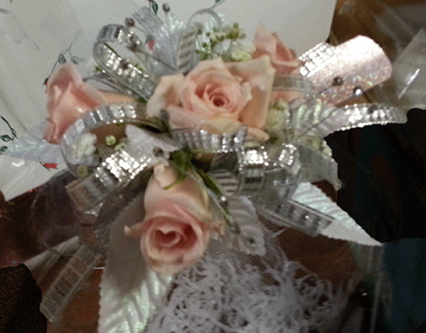 Peachy Roses Silver Ribbons Leaves Wrist Corsage