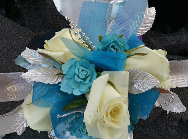 Cream Roses Blue and Silver Accents Wrist Corsage