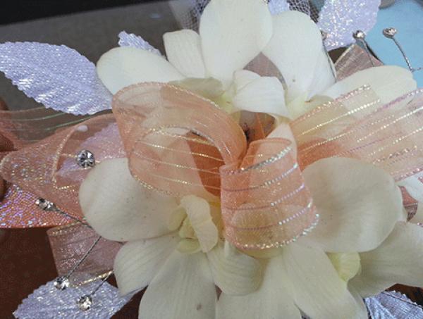 White Orchids Peach Ribbon Corsage