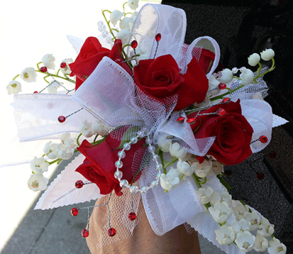 4 Red Roses Lily of the Valley White Ribbon Corsage