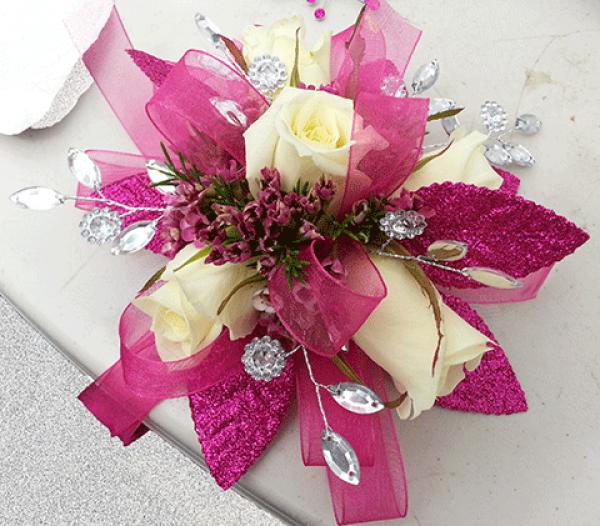 5 Cream Roses Magenta Ribbons Crystal Corsage