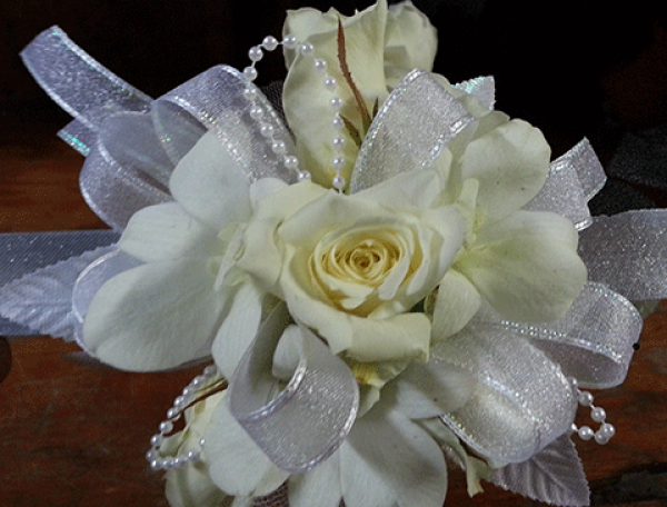 White Roses Orchids Silver Ribbon Corsage