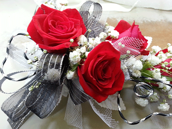 Red Roses Baby's Breath Black/Silver Ribbon Corsage