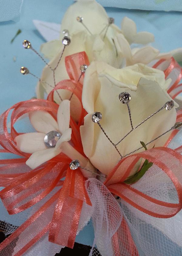 White Roses Stephanotis Crystal Corsage