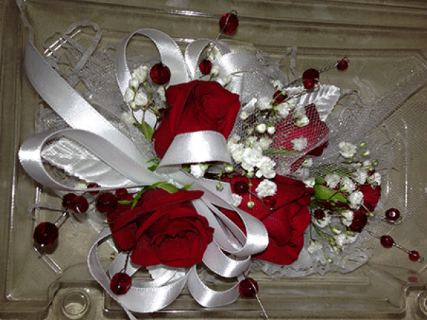 5 Red Roses Red Beads White Ribbon Corsage