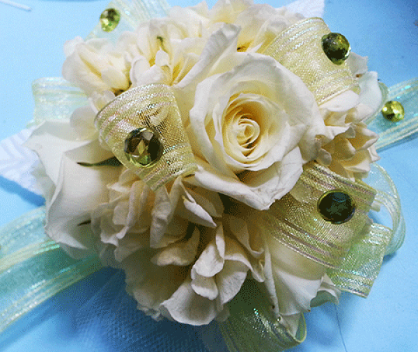 White Roses Emerald Crystals Corsage