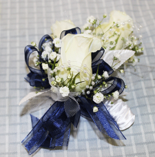 White Rose Blue Ribbon Boutonniere