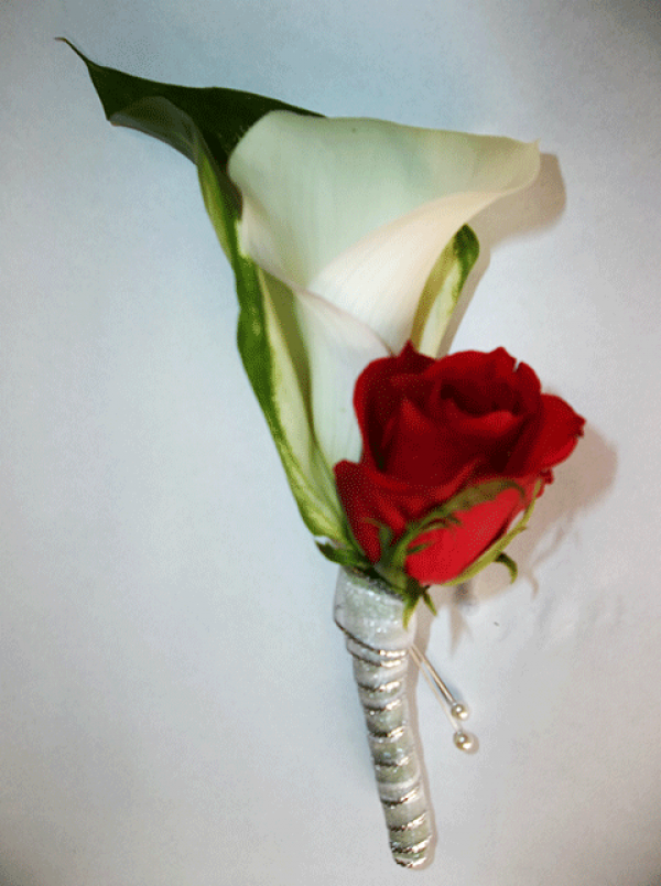 Red Rose Lilly Boutonniere