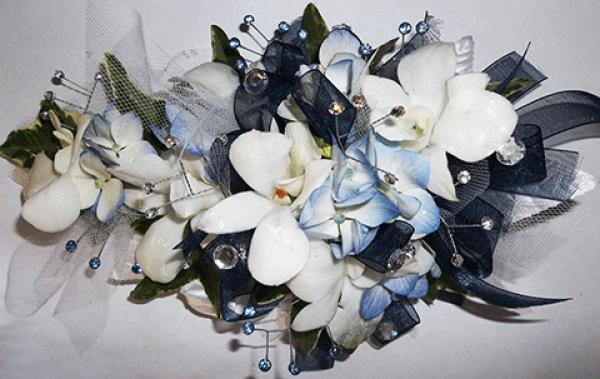 White Orchids Light Blue Accent Black Ribbon Corsage