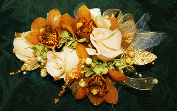 Peach Roses Orange Lillies Gold Ribbon Corsage