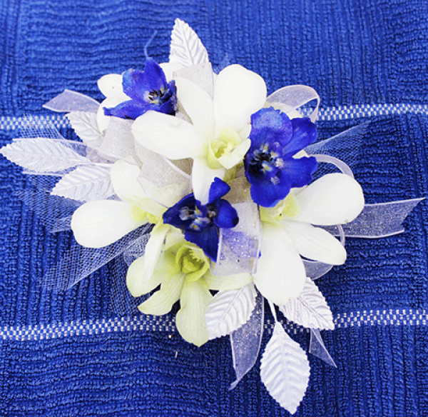 White Orchids Periwinkle Color Flowers White Ribbon Corsage