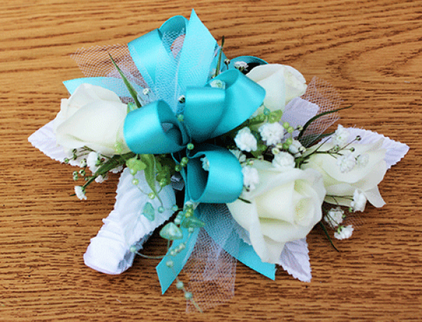 White Roses Baby's Breath Teal Ribbon Corsage