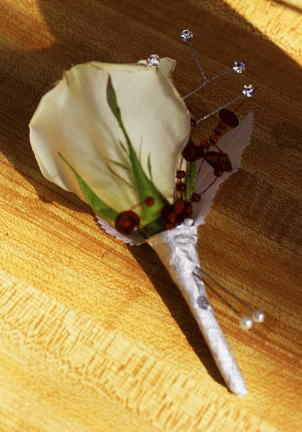 White Rose Glass Beads Boutonniere