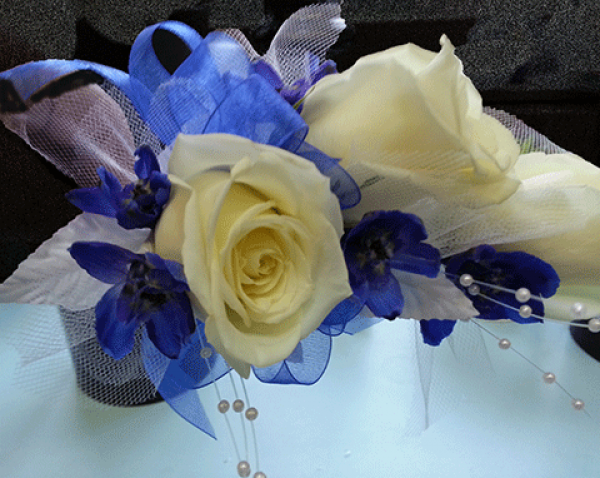 White Roses Periwinkle Colored Ribbon Corsage